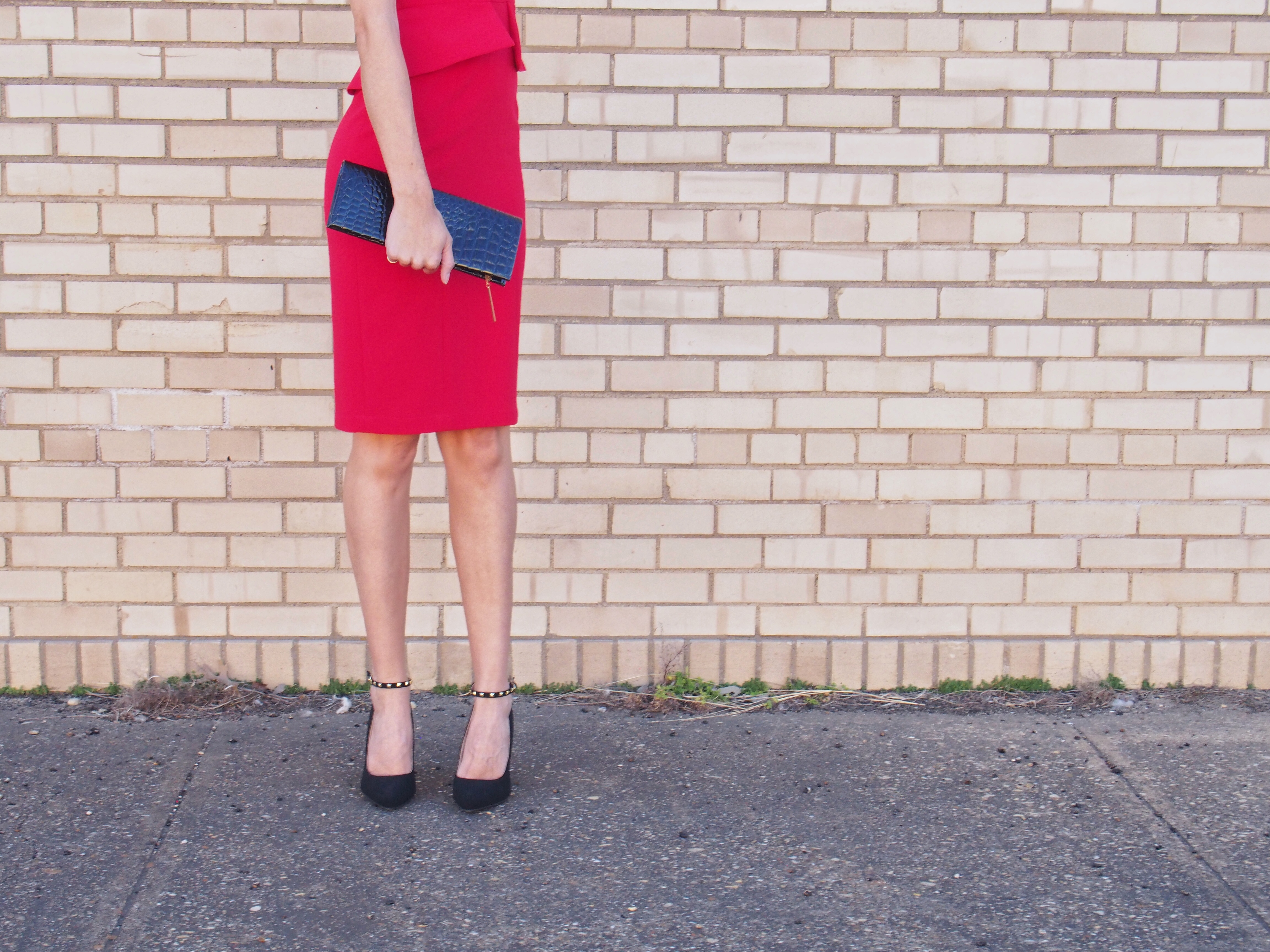 red bcbg peplum dress