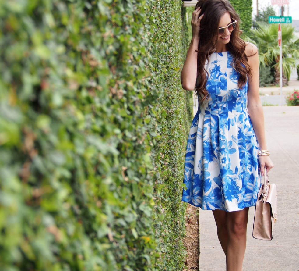 blue floral vince camuto dress myviewinheels