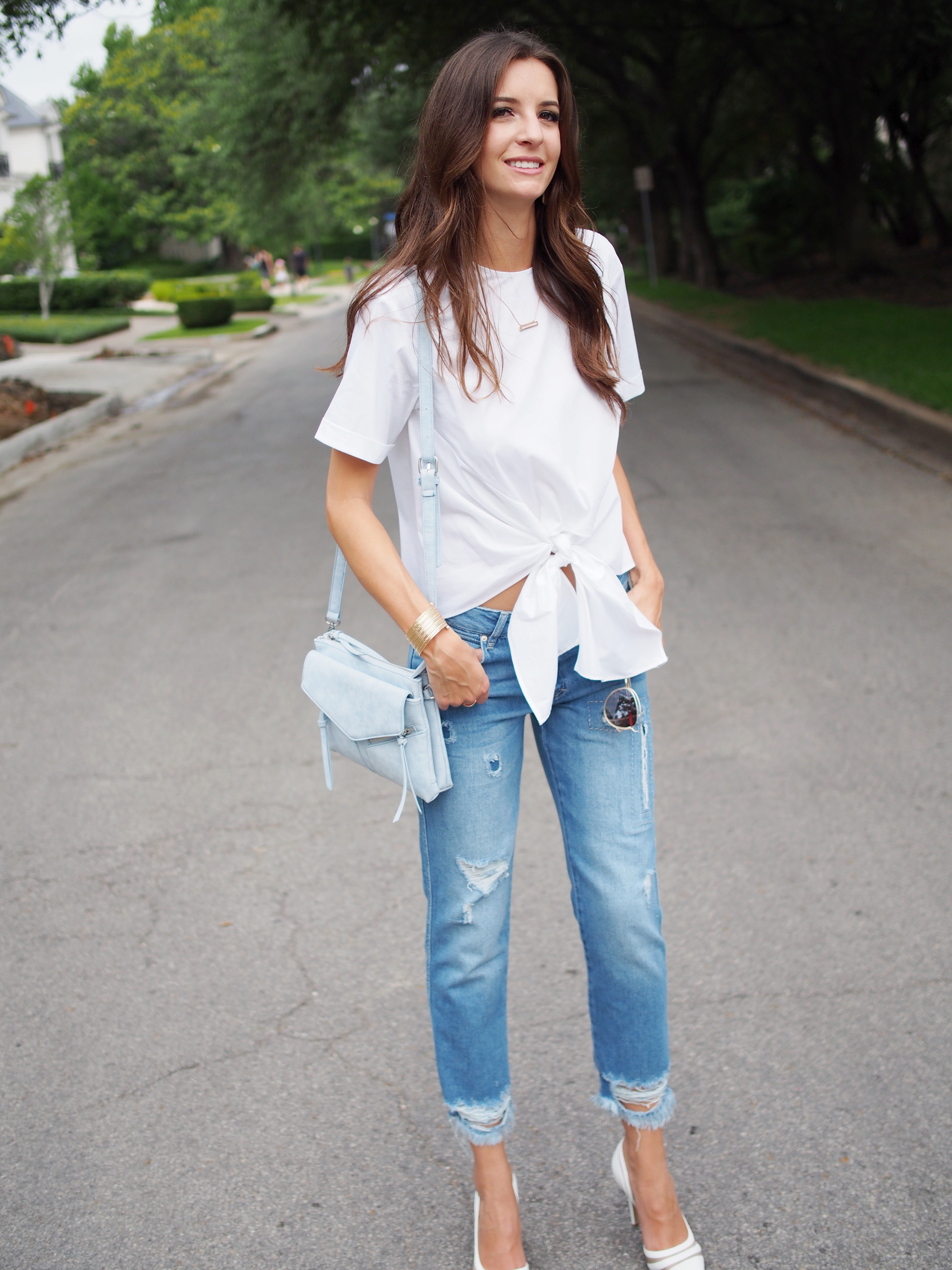 white zara top and jeans5