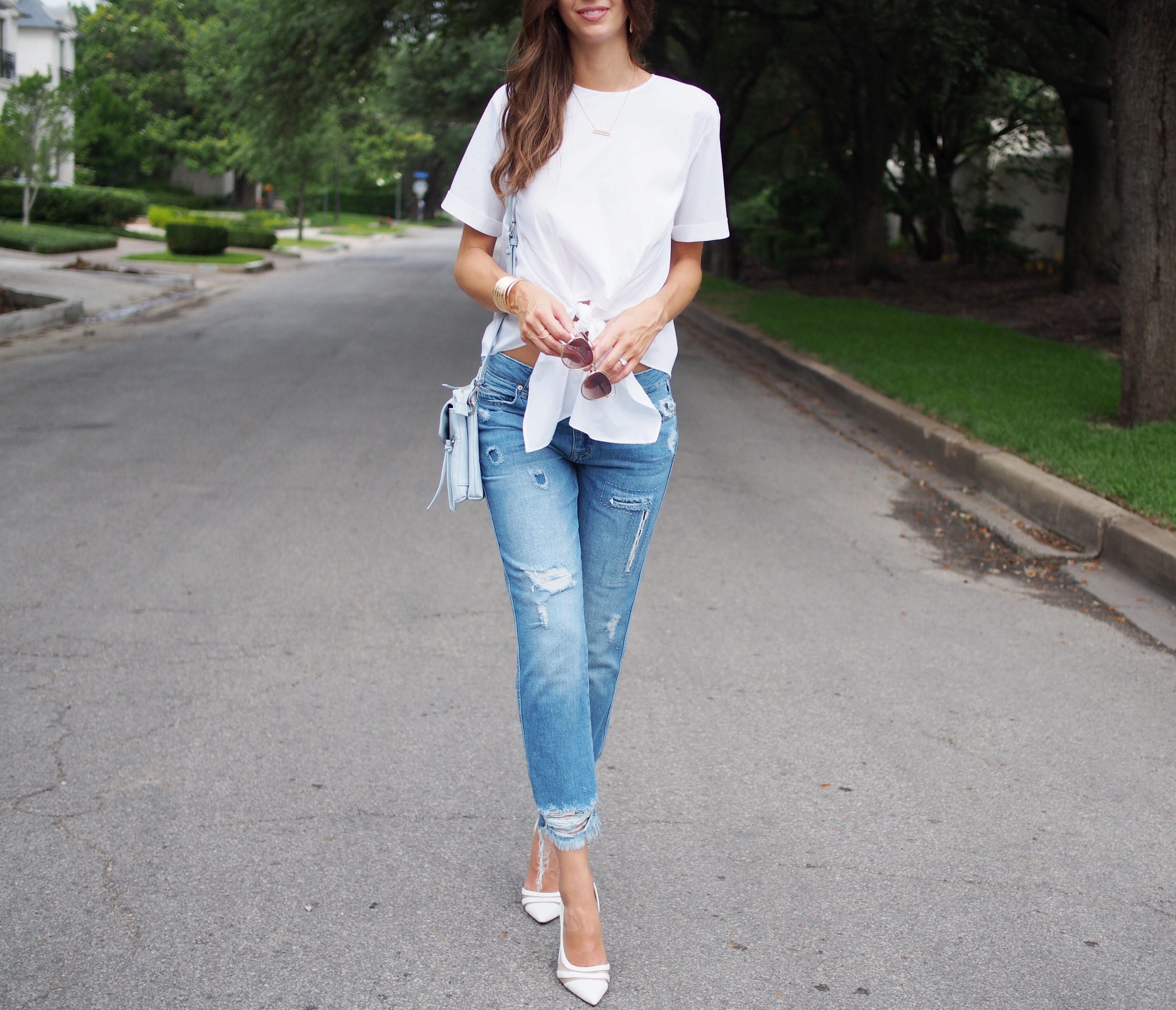white zara top and jeans7